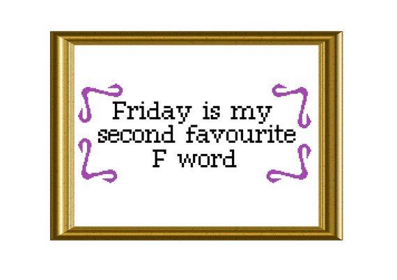 F Word Funny TGIF Quote Cross Stitch Pattern by RatherUnseamly, £2.50