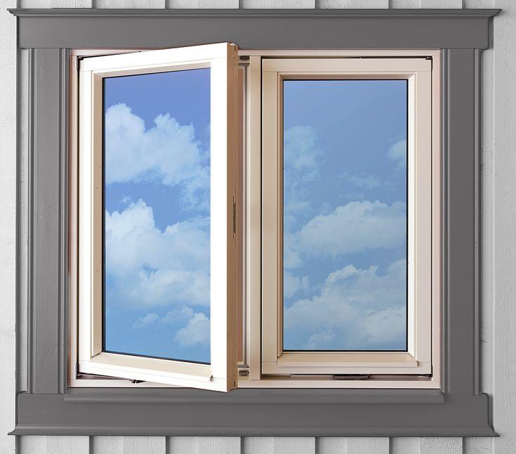 Enkelt vindu med midtstolpe til de små vinduene