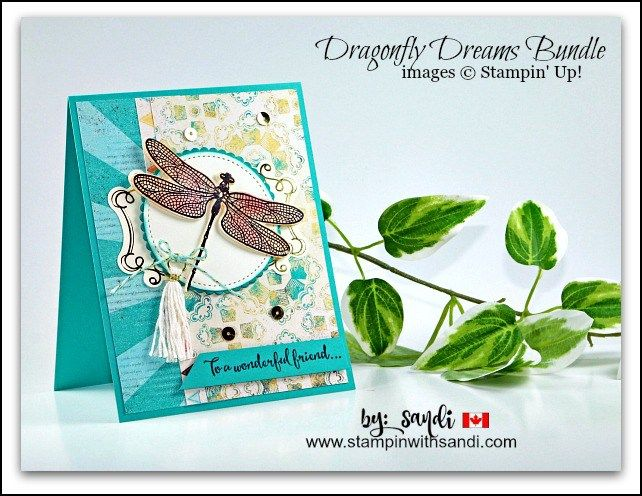 Dragonfly dreams with Cupcakes and Carousels DSP card by Sandi @ stampinwithsandi.com