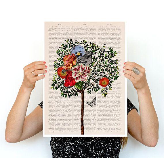 Albero con uccelli arte, uccello poster, immagini artistiche di uccelli, Eco amichevole arte, home decor, poster da parete arte, arte di celebrazione di primavera, poster A3 PAN220
