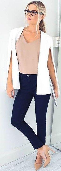 White 'Take Over Blazer' + Nude 'Float Top' + Black 'Alessandra Skinny Jeans'
