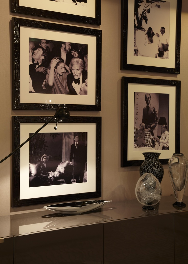 Manhattan Room  Donghia New York  Some Family Photos for our walls give a homey feel to our #Black and White room