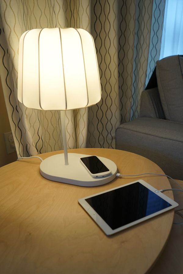The Ikea Varv Lamp Not Only Provides Light But Is Also A Wireless Charging Station