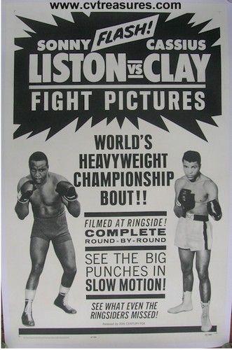 Cassius Clay Muhammad Ali vs Sonny Liston Vintage Fight Boxing Poster 1964