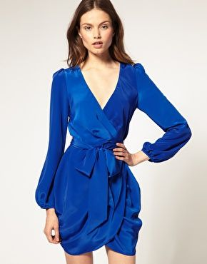 ASOS Wrap Dress with Tie Waist  $62.67-- comes in blue, black & mustard