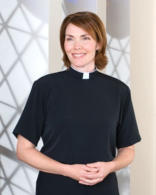 """Convenient sewn-in """"step"""" collar- no need for separate clergy collars, tabs or other accessories.  Hmmm...don't know bout this"""