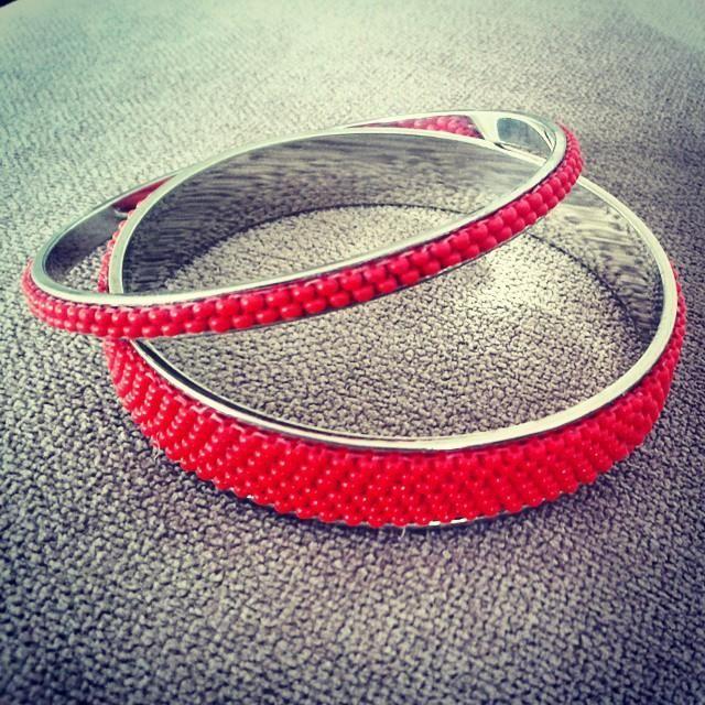 Handmade beaded bracelets.