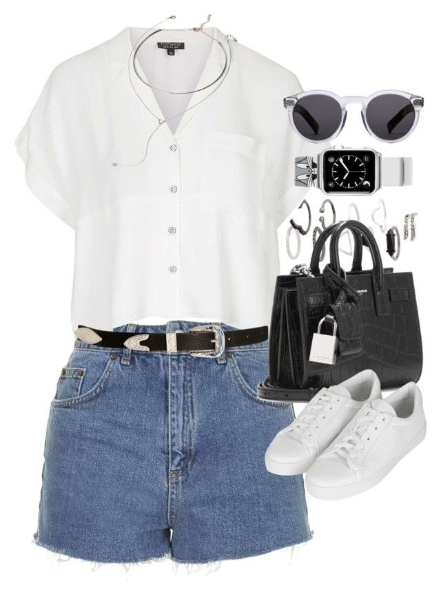 """Outfit with a Casetify Looney Tones Apple Watch Band"" by ferned on Polyvore featuring Topshop, Yves Saint Laurent, ASOS, Forever 21, Casetify, Illesteva, women's clothing, women's fashion, women and female"
