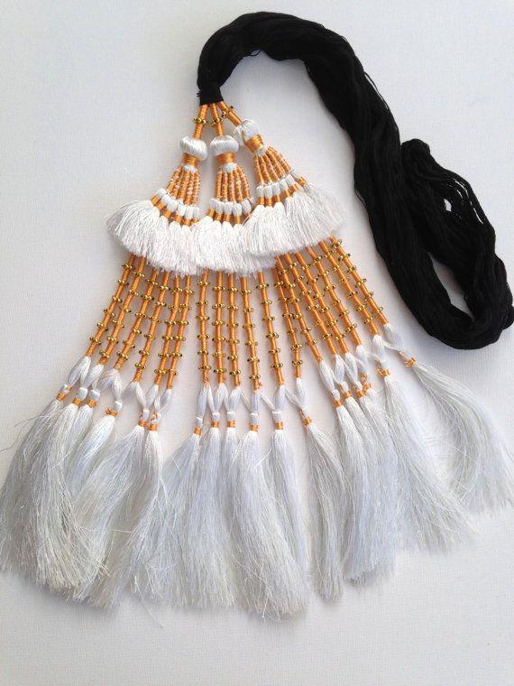 Hair Tassels, White, Tribal  Belly Dance, Hair Ornaments, Tribal Hair, Bellydance Costume, Bohemian Hair Extension, Beads, Hair Jewellery