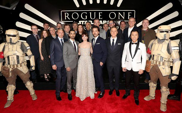 """The Cast and Crew of """"Rogue One: A Star Wars Story""""  Rogue One premier red carpet 12/10/16"""