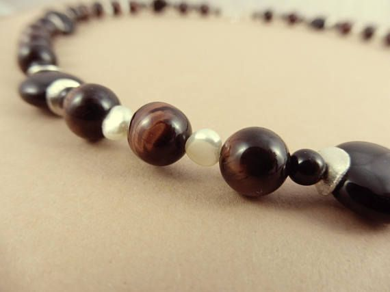 Silver Necklace with Red Tiger Eye Beads Freshwater Pearls &