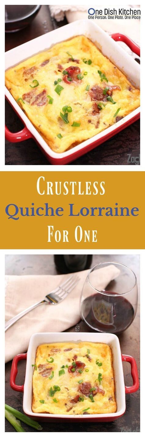 """You certainly won't miss the crust in this lovely Crustless Quiche Lorraine for one! It's perfect for breakfast, lunch or dinner. Two eggs, a little cream, bacon and cheese are just about the only ingredients you'll need to make this delicious """"recipe for one"""". 