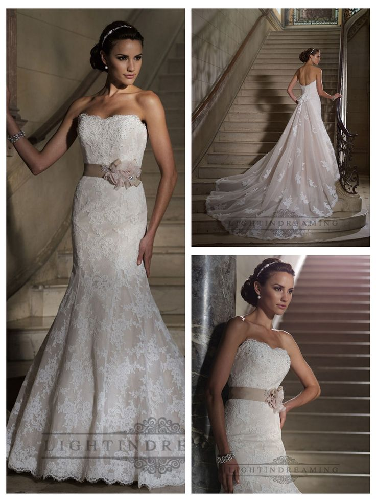 Strapless Mermaid Scalloped Back Lace Appliques Wedding Dresses
