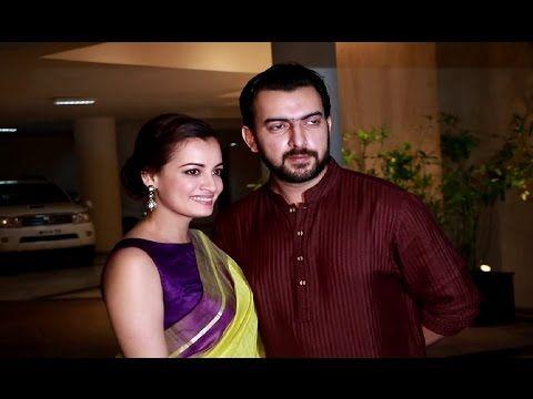Dia Mirza with husband Sahil Sangha spotted at Manish Malhotra' house.