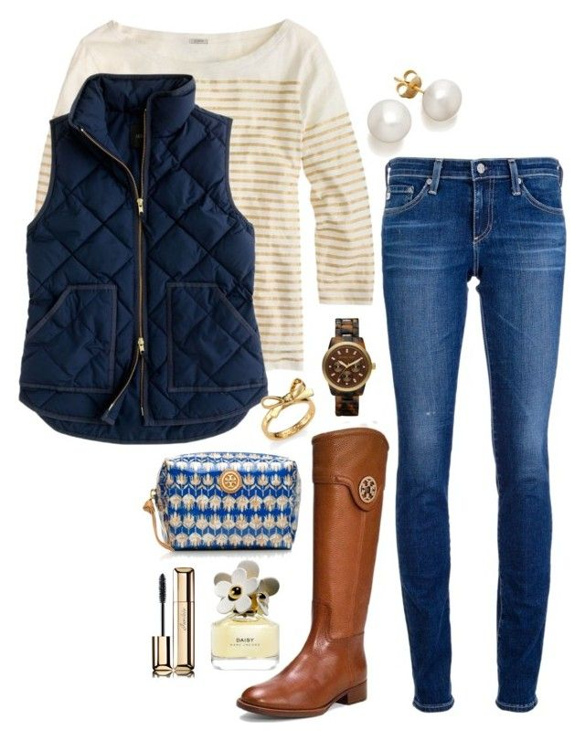 gold navy by the-southern-prep on Polyvore featuring polyvore, fashion, style, J.Crew, AG Adriano Goldschmied, MICHAEL Michael Kors, Kate Spade, Guerlain, Marc Jacobs and Tory Burch