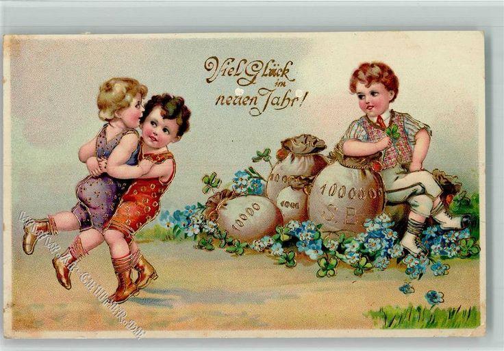 Kinder beim Schwingen mit Geldsäcke, Golddruck: Ansichtskarten-Center Onlineshop