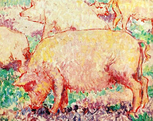 Pigs by Mikhail Larionov
