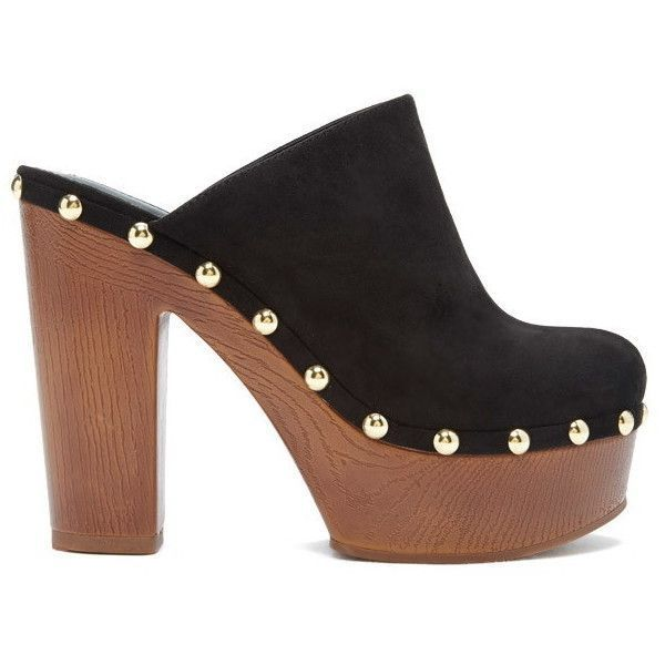Forever 21 Women's  Studded Faux Suede Clogs ($35) ❤ liked on Polyvore featuring shoes, clogs, clog shoes, high-heel clogs, clogs footwear, faux suede shoes and platform clogs #ClogsShoesHeels