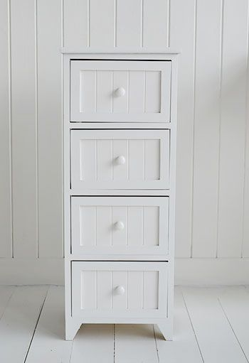 Maine Narrow Freestanding Bathroom Cabinet with 4 drawers ...