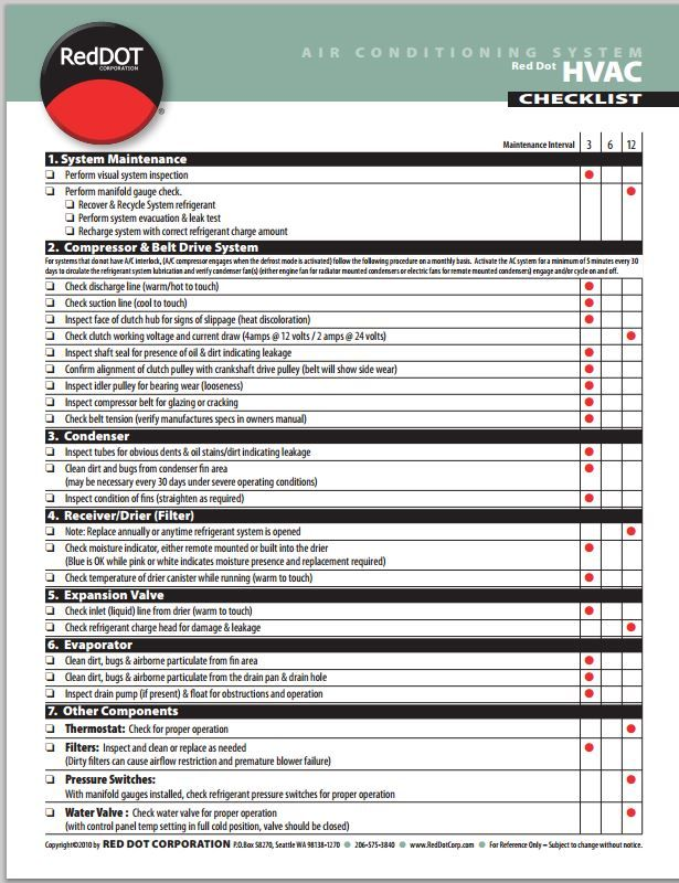 free red dot a  c maintenance checklist print