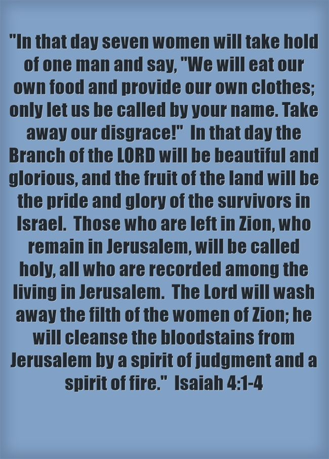 In that day seven women will take hold of one man and say, We will eat our own food and provide our own clothes; only let us be called by your name. Take away our disgrace! In that day the Branch of the LORD will be beautiful and glorious, and the fruit of the land will be the pride and glory of the survivors in Israel. Those who are left in Zion, who remain in Jerusalem, will be called holy, all who are recorded among the living in Jerusalem. The Lord will wash away...