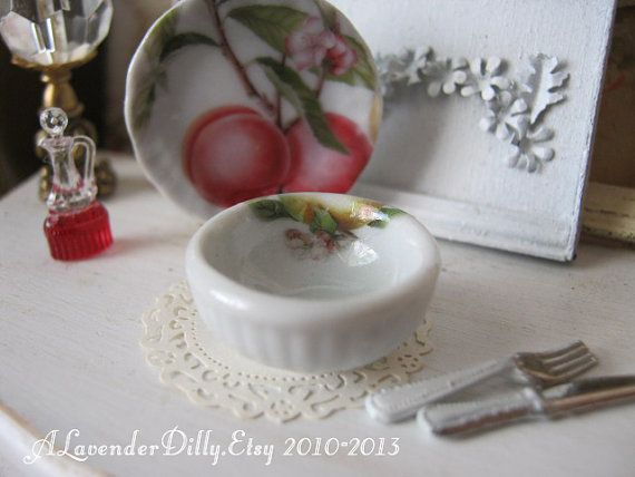 Eden Peaches Bowl for Dollhouse by alavenderdilly on Etsy, $3.00