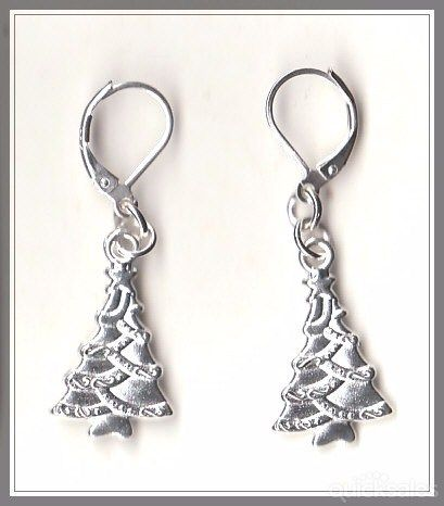 Christmas Tree Charm on 925 Sterling Silver Plated Hinged Earrings  by MadAboutIncense - $10.50