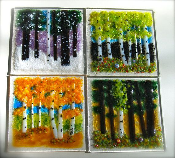 Fused Glass Tiles Backsplash Kitchen Bath by JudiHartmanGLASSART, $30.00