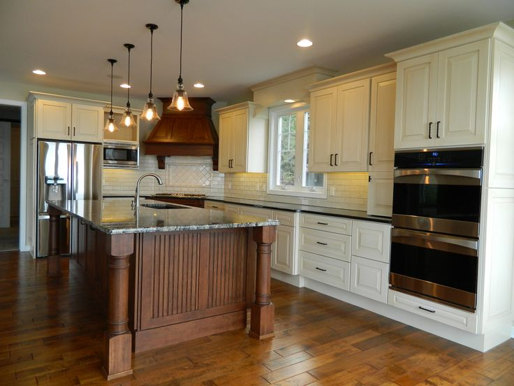 Hardwood Flooring White Painted Cabinets With Crown
