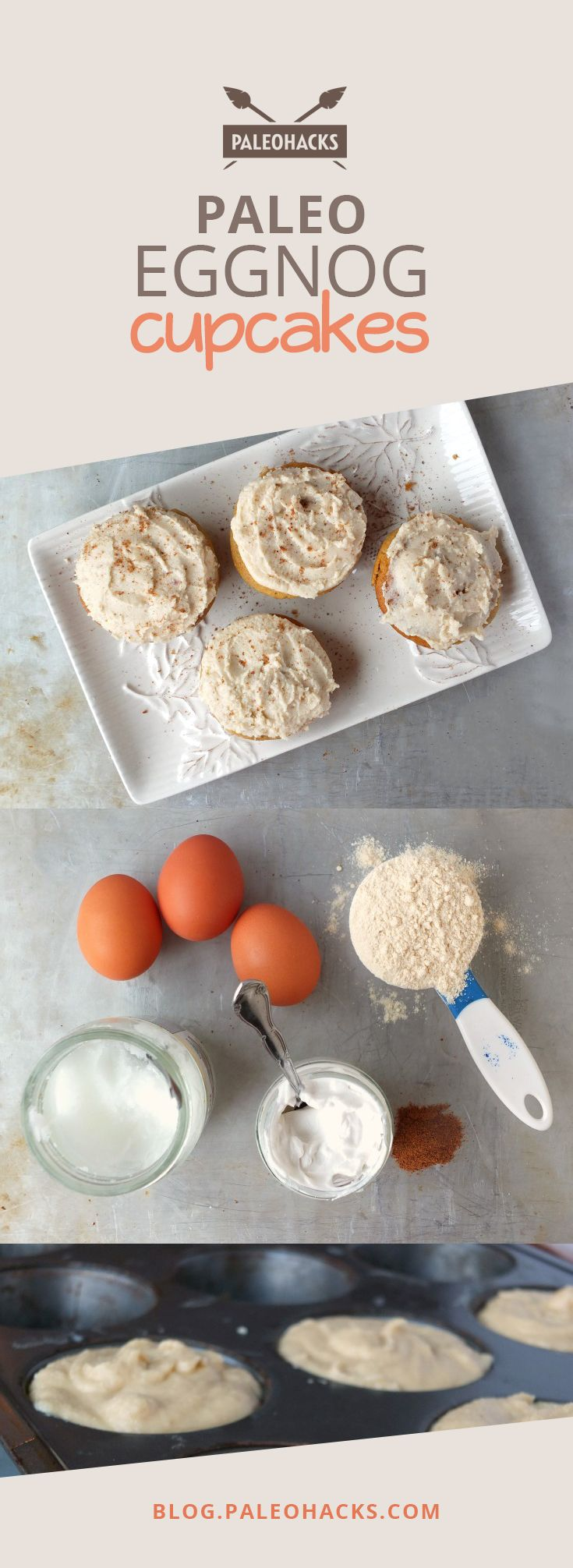 Fluffy and light #Paleo eggnog cupcakes! For the full recipe visit us at: http://paleo.co/eggnogCC #paleohacks