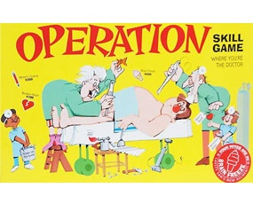 "OPERATION:     Granted, the buzzing noise can get a little grating, but this is not the Operation of your childhood! No longer do you need to bite on a stick while the barber pulls your tooth! The latest versions of Operation (""Silly Skills"" and ""Rescue Kit"") have updated body parts, new sound effects (boy, do the kids love the ""gas bubbles""…), and multiple levels of play, which let even the littlest surgeons in the house take part. Be forewarned that the little pieces are still easily lost…"