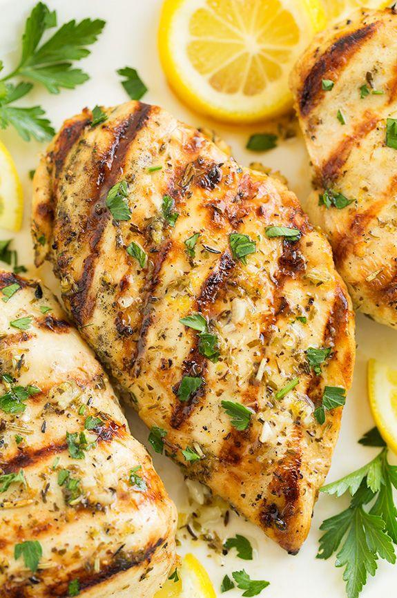 Grilled Greek Herb-Lemon Chicken 7/13/15: 1 lb. chicken breasts, 1/4 c ...
