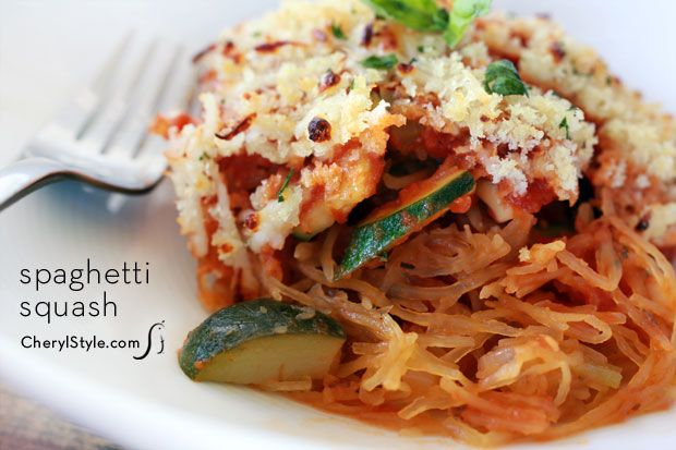 It's Spaghetti Squash Casserole with extra veggies and red sauce! Thanks cherylstyle.com. ;)