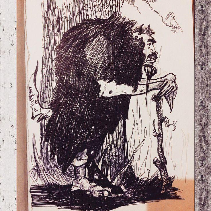 небольшая зарисовка Леший. А5, бумага, тушь, перо. a small sketch Goblin. A5, paper, ink, pen. #арт #иллюстрация #рисунок #графика #персонаж #набросок #бумага #тушь #перо #леший #сказка #лес #идея #леший  #art #illustration #drawing #graphics #character #sketch #paper #ink #pen #goblin #fairytale #forest #idea #devil