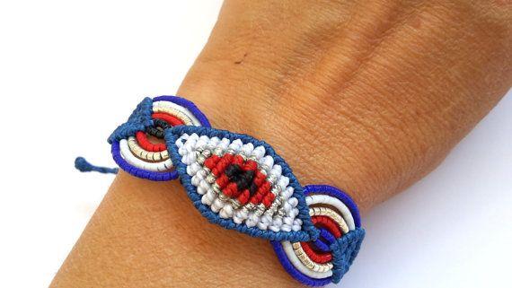 Macrame Bracelet Evil Eye Bracelet by MACRANI on Etsy
