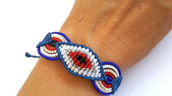 Macrame Bracelet Evil Eye Bracelet by MACRANI on Etsy