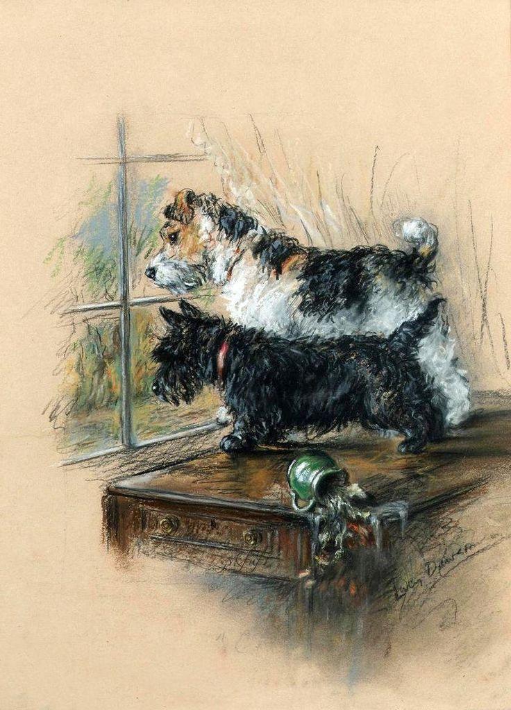 Wire Foxie and Scottie by Lucy Dawson (c.18741954) Dog
