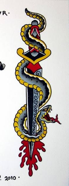 Image result for snake and dagger tattoo design