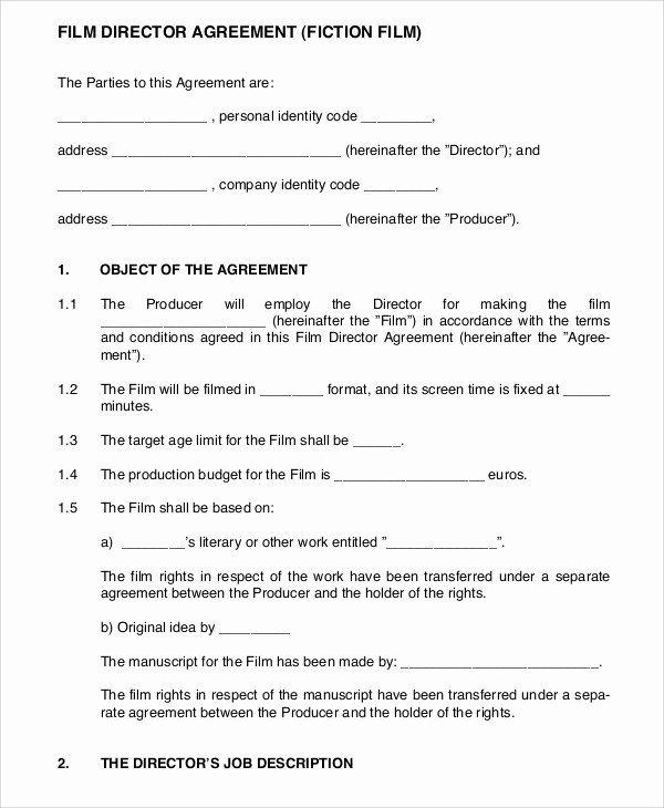 Film Production Contract Template Best Of 9 Director Agreement Templates Free Sample Example Contract Template Newspaper Template Word Templates