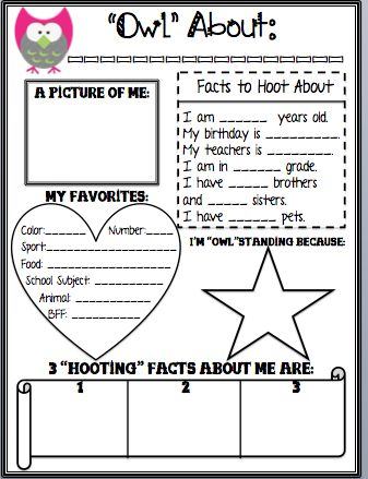 """Owl"" About Me Posters Great Way to get to know your kiddos with these Owl All…"