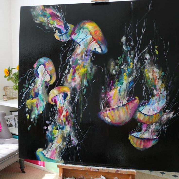 Katy Jade Dobson Art - Jelly fish oil painting 'Bloom'