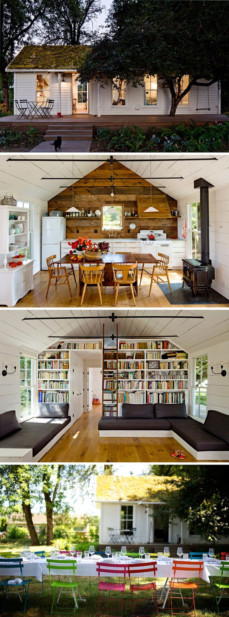 Tiny house, lofted bedroom – really like the shelving in this. | Poked.co