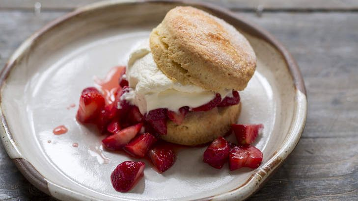 Frank Camorra's old-fashioned strawberry shortcake filled with balsamic berries tastes as good as it looks.