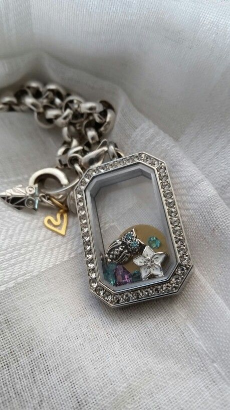 Silver heritage locket Silver custom rolo chain Open heart CORE memento Owl CORE Memento Owl charm Stephanois flower charm Mini gold plate Variety of crystals