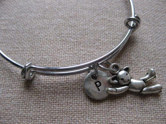 Teddy Bear Charm Expandable Bangle, Personalised Bracelet, Charm Bangle, Initial Bracelet, Monogram Bangle, Bridesmaid gift, Gift for her by CharmsInFrance on Etsy