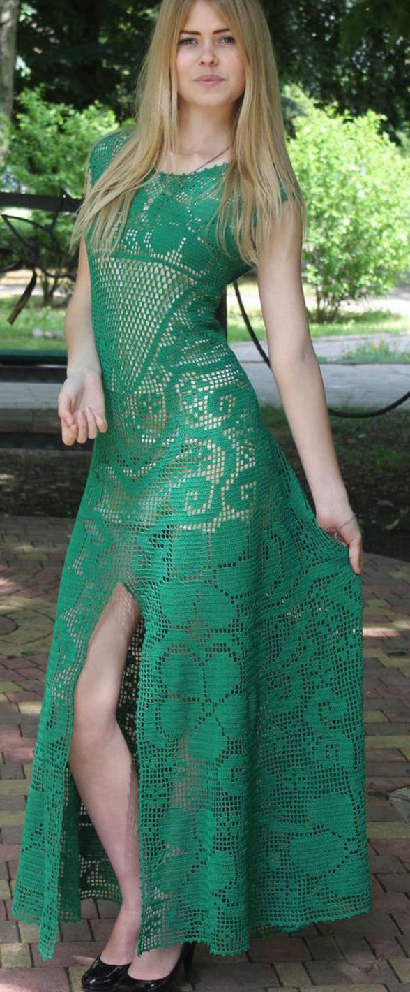 Emerald crochet dress