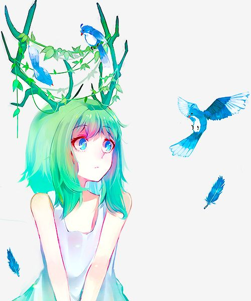 Esmer. Cheveux verts colorés