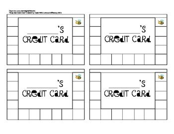 This page of four credit cards can be copied for a class set. I use credit cards in my class as behavior incentives. When I catch a student doing something exceptional, I sign my name off on a square. Once the credit card is filled up they can redeem it for classroom rewards!