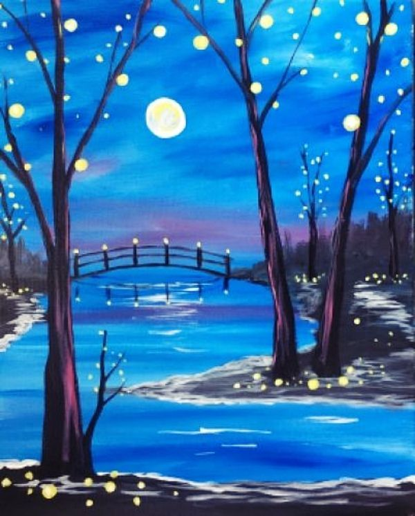 40 Easy Acrylic Painting Ideas On Canvas Diy Art Projects Canvas Simple Acrylic Paintings Night Painting