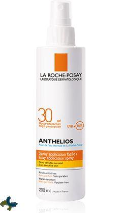 Anthelios SPF30 Spray es un protector solar en spray para todo tipo de pieles fácil y cómodo de aplicar que aporta una alta protección a la piel ante la exposición de los rayos UVA y UVB. http://www.farmaciaccloranca.es/anthelios-spf-30-spray-200-ml-la-roche-posay.html
